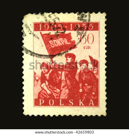 POLAND - CIRCA 1955: A stamp printed in Poland honoring First Russian revolution of 1905 year, circa 1955