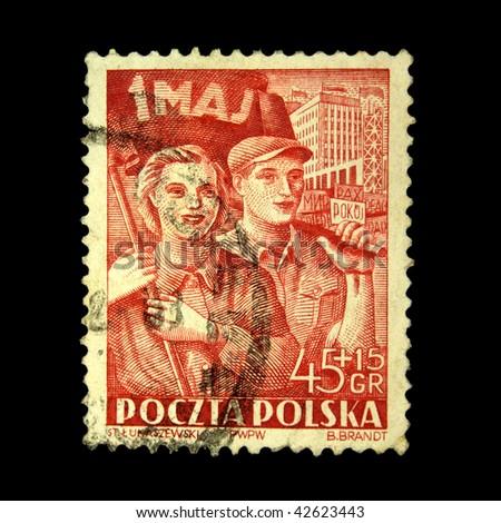 POLAND - CIRCA 1953: A stamp printed in Poland honoring 1 st of May, circa 1953 - stock photo