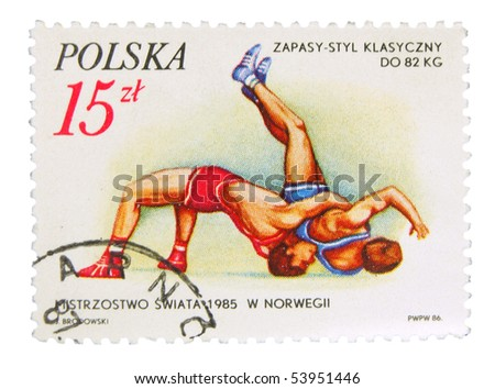 POLAND - CIRCA 1985: A stamp printed in Poland showing fighters circa 1985 - stock photo