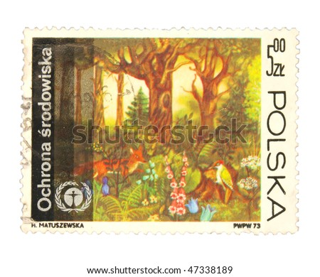 POLAND - CIRCA 1973: A stamp printed in Poland showing protection of nature circa 1973 - stock photo