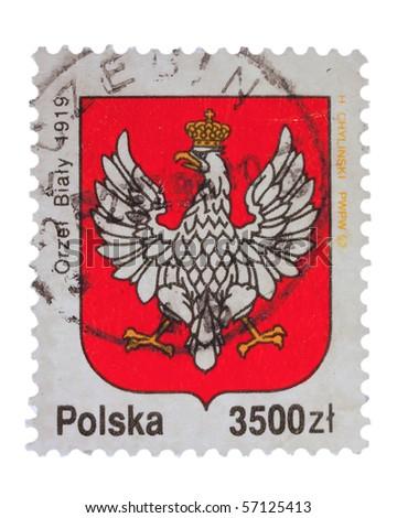 POLAND - CIRCA 1992: A stamp printed in Poland showing sign with eagle, circa 1992 - stock photo