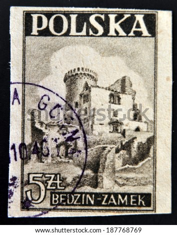 POLAND - CIRCA 1946: A stamp printed in Poland shows a Castle, Bedzin, circa 1946