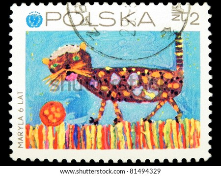 """POLAND - CIRCA 1971: A Stamp printed in POLAND shows a picture """"Cat"""" by Myryla with the inscription """"Myryla 6 LAT"""" from the series """"25 UNICEF. Child's drawing"""", circa 1971 - stock photo"""