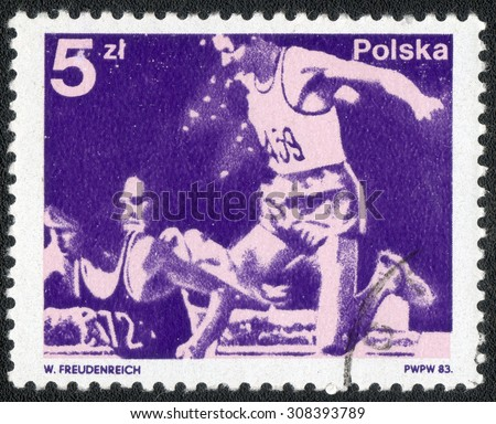"POLAND - CIRCA 1983: A Stamp printed in Poland shows a series of images ""Kinds of sports"", circa 1983"