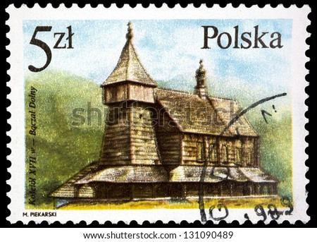 "POLAND - CIRCA 1986: A stamp printed in Poland shows Church, Baczal Dolny, VII century, with the same inscription, from the series ""Wooden Architecture"", circa 1986"