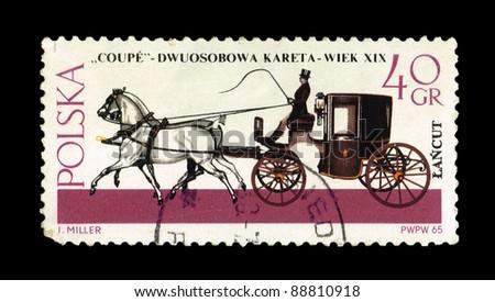 """POLAND - CIRCA 1965: A stamp printed in Poland shows """"COUPE"""" Dwuosobowa kareta-weik XX w  J.Miller, circa 1965 - stock photo"""