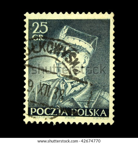 POLAND - CIRCA 1938: A stamp printed in Poland shows Edward Rydz-Smigly, circa 1938