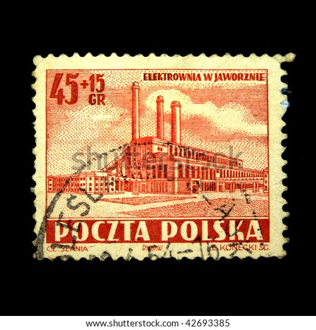 POLAND - CIRCA 1954: A stamp printed in Poland shows Electric power station in Jaworznin, circa 1954