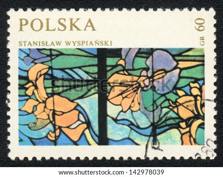 "POLAND  - CIRCA 1971: A stamp printed in POLAND shows ""Elements"" by Stanislaw Wyspianskii, stained glass, circa 1971"