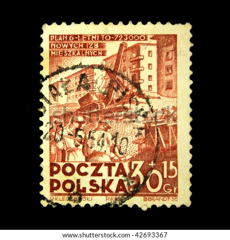 POLAND - CIRCA 1954: A stamp printed in Poland shows image celebrating the Polish 6 Year Plan (1950-55), series, circa 1954