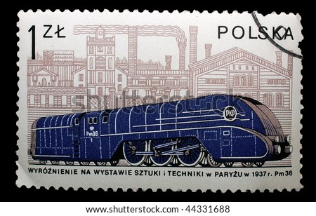 POLAND - CIRCA 2001: A stamp printed in Poland shows image celebrating the 75th anniversary of PKP railways, circa 2001 - stock photo