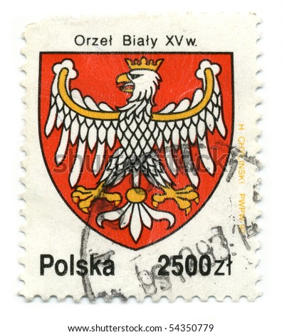 POLAND - CIRCA 1993: A stamp printed in POLAND shows image of the Polish coat of arms circa 1993. - stock photo