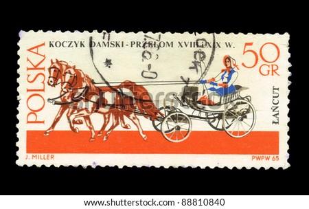 POLAND - CIRCA 1965: A stamp printed in Poland shows Koczyk Damski-przelom XVIII i XIX W J.Miller, circa 1965 - stock photo