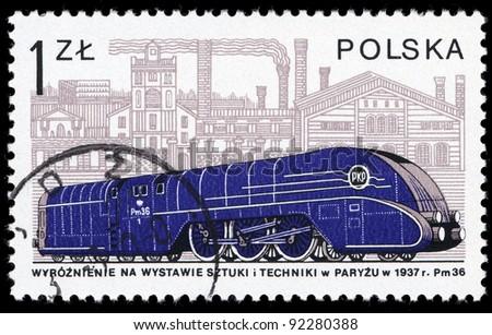 POLAND - CIRCA 1978: A stamp printed in Poland shows locomotive, circa 1978. - stock photo