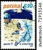 Poland- CIRCA 1979:  A stamp printed in Poland shows  Neil Armstrong - first man on the Moon, circa 1979. - stock photo