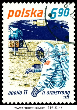 Poland- CIRCA 1979:  A stamp printed in Poland shows  Neil Armstrong - first man on the Moon, circa 1979. - stock photo