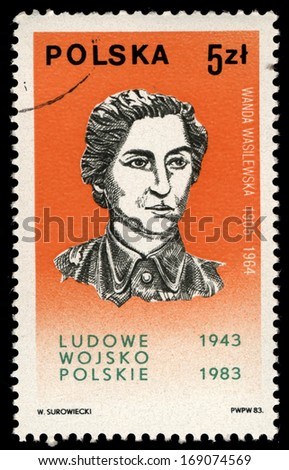POLAND - CIRCA 1983: A stamp printed in Poland shows portrait of Wanda Wasilewska, circa 1983