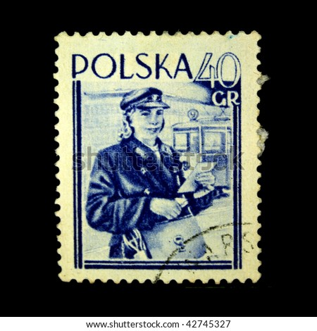POLAND - CIRCA 1954: A stamp printed in Poland shows postman, circa 1954