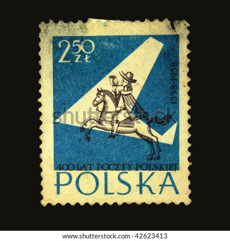 POLAND - CIRCA 1958: A stamp printed in Poland shows postman with the horn on the horse, circa 1958