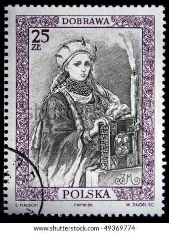 POLAND - CIRCA 1987: : A stamp printed in Poland shows Queen of Poland Dobrawa, circa 1987