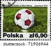 Poland - CIRCA 1978: A stamp printed in Poland shows soccer ball, circa 1978 - stock photo