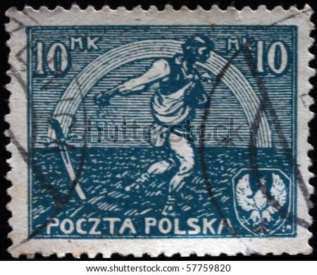 POLAND - CIRCA 1936: A stamp printed in Poland shows sower, circa 1936 - stock photo