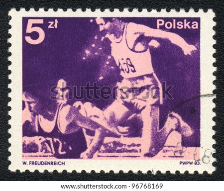 POLAND - CIRCA 1983: A stamp printed in POLAND shows steeplechase, from series, circa 1983
