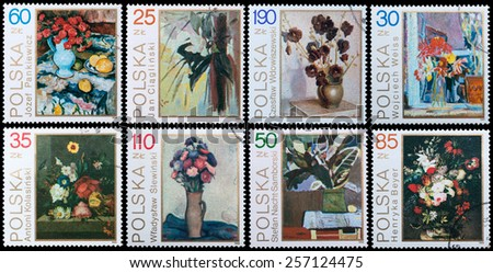 POLAND - CIRCA 1989: A stamp printed in Poland shows still-life painting of flowers, circa 1989 - stock photo