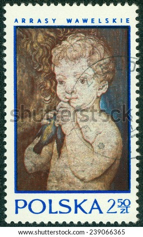 """POLAND - CIRCA 1970: A stamp printed in Poland shows Tapestry """"Child holding bird"""", with inscription and name of series """"16th Century Tapestries in Wawel Castle"""", circa 1970 - stock photo"""
