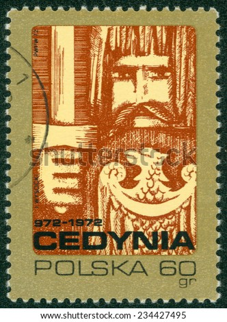 POLAND - CIRCA 1972: A stamp printed in POLAND shows 100th anniversary of the Polish town Cedynia, from series, circa 1972 - stock photo