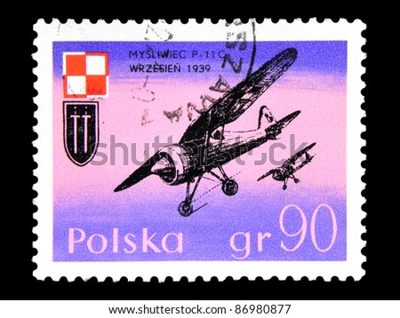 "POLAND - CIRCA 1971: A stamp printed in POLAND shows the Airplane with the inscription ""Fighter P-11c"" from the series ""Polish Air Force in the war of 1939"", circa 1971"