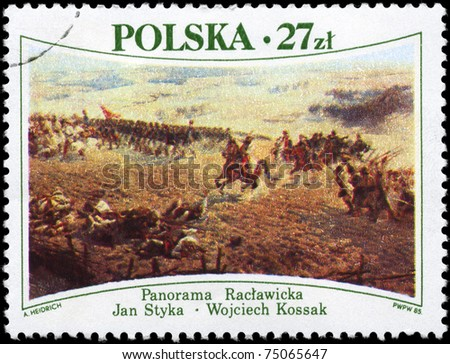 "POLAND - CIRCA 1985: A Stamp printed in POLAND shows the painting ""Battle of Raclawice"", (April, 1794, by Jan Styka and Wojciech Kossak, 1894), circa 1985"