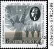 POLAND - CIRCA 1980: A Stamp printed in POLAND shows the portrait of a Fryderyk Chopin (1810-1849), Composer, and devoted to Chopin Piano Competition, circa 1980 - stock photo