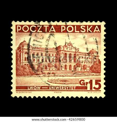 POLAND - CIRCA 1938: A stamp printed in Poland shows view of Lvov - University, circa 1938