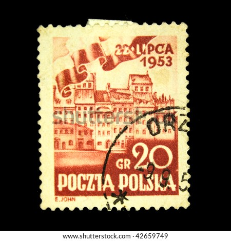 POLAND - CIRCA 1953: A stamp printed in Poland shows view of Palace Square in Warsaw, circa 1953