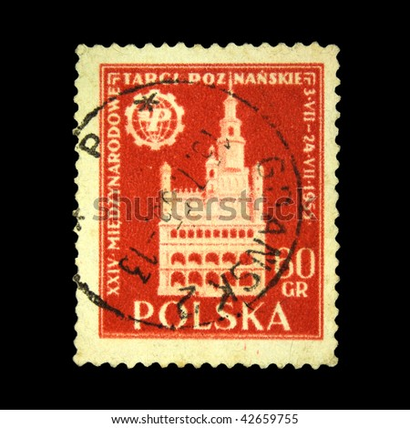 POLAND - CIRCA 1955: A stamp printed in Poland shows view of Poznan Town Hall, circa 1955