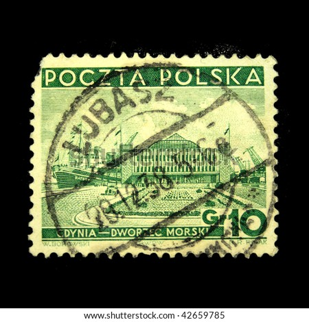 POLAND - CIRCA 1938: A stamp printed in Poland shows view of Sea palace Gdansk, circa 1938