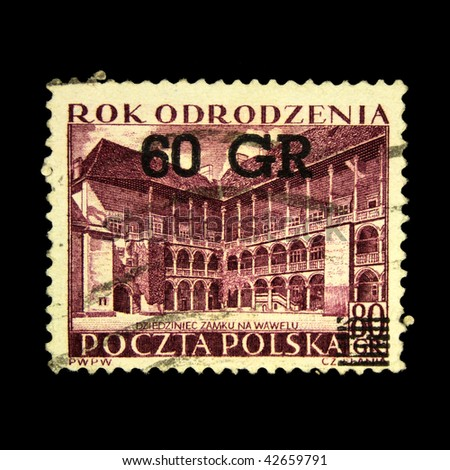 POLAND - CIRCA 1938: A stamp printed in Poland shows view of Wawel Castle courtyard, circa 1938