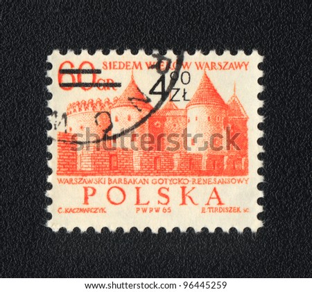 POLAND - CIRCA 1965: A stamp printed in Poland  shows Warsaw barbican,  circa 1965