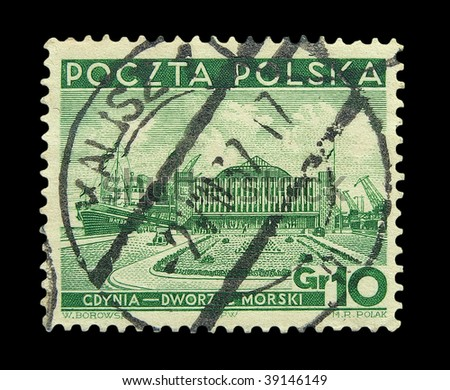 POLAND - CIRCA 1937: A stamp printed in Poland, the present station in Gdynia Maritime, circa 1937.