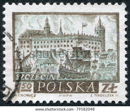 POLAND - CIRCA 1960: A stamp printed in the Poland, depicts the sea port Szczecin (Stettin) and the castle of the Duke of Pomerania, circa 1960
