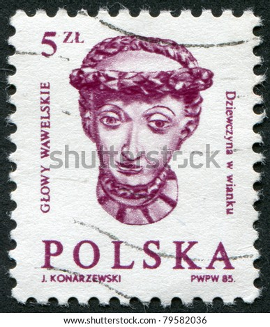 POLAND - CIRCA 1985: A stamp printed in the Poland, head girl with braided wreath at the embassy hall of the castle Wawel in Krakow, circa 1985 - stock photo