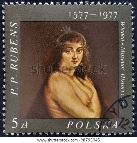 POLAND - CIRCA 1977: A stamp printed in the poland shows fragment of draw of artist Peter Paul Rubens, circa 1977