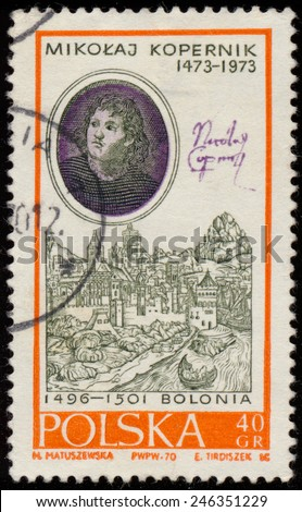 POLAND - CIRCA 1970: a stamp printed in the Poland shows Nicolaus Copernicus, by Bacciarelli and View of Bologna, from the series 500th Anniversary of the Birth of Mikolaj Kopernik, circa 1970