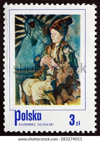 POLAND - CIRCA 1974: a stamp printed in the Poland shows Peasant Boy, Painting by Kazimierz Sichulski, circa 1974 - stock photo