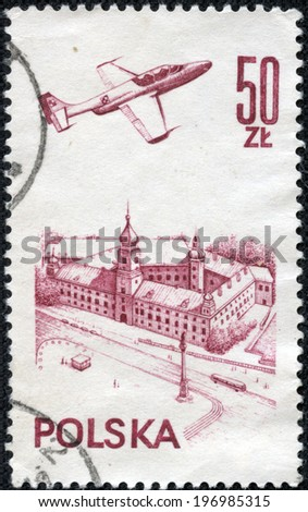 POLAND - CIRCA 1978: A stamp printed in the Poland, shows the aircraft flying over Warsaw Castle, circa 1978 - stock photo