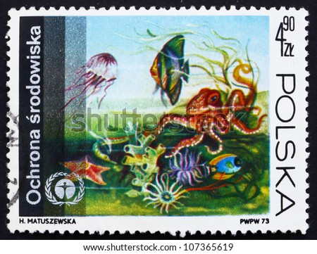POLAND - CIRCA 1973: a stamp printed in the Poland shows Underwater Fauna and Flora, Protection of the Environment, circa 1973 - stock photo