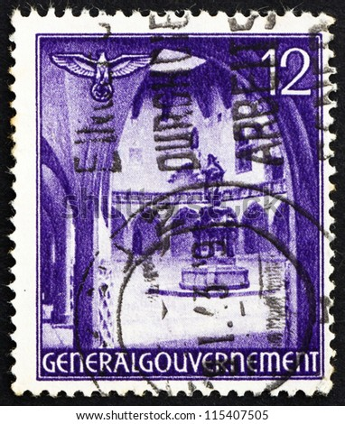 POLAND - CIRCA 1941: a stamp printed in the Poland under German Occupation shows Courtyard and Statue of Copernicus, circa 1941