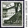 POLAND - CIRCA 1940: A stamp printed in the Poland under German Occupation shows Courtyard, Krakow, circa 1940 - stock photo