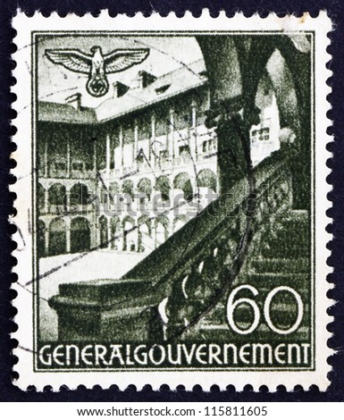 POLAND - CIRCA 1940: A stamp printed in the Poland under German Occupation shows Courtyard, Krakow, circa 1940
